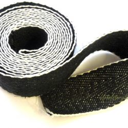 Black and White Cotton Herringbone Webbing