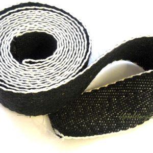 Black and White Cotton Herringbone Webbing