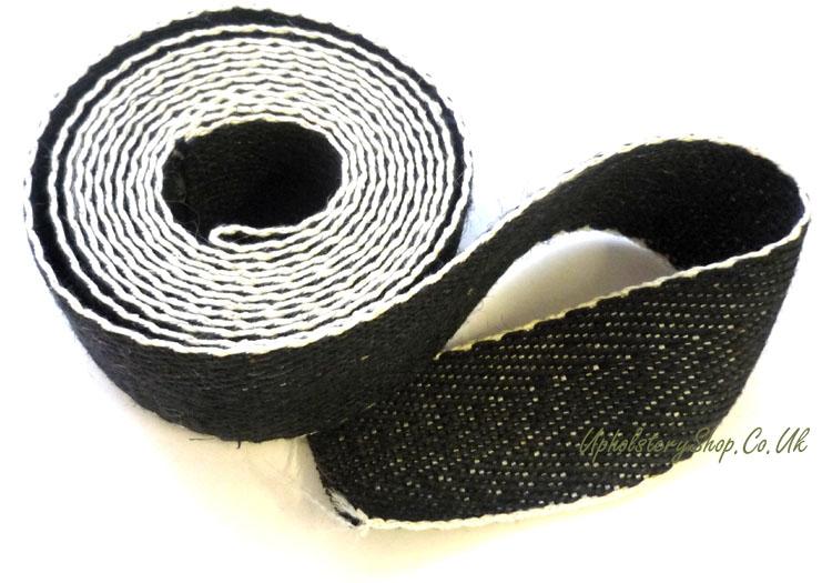 50mm Black /& White 2 Upholstery Seat Jute Cotton Webbing Strap Extra Strengh 1 Meter
